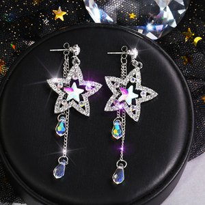 New Fashion Five-pointed Star Colored Diamonds Tassel Earrings Female Personality Colorful Zircon Cold Wind Long Earrings