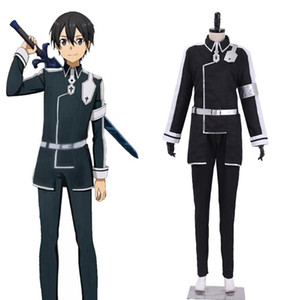 Cosplaydiy Sword Art Online Alicization Kirigaya Kazuto Cosplay Costume SAO Kirito Outfit Men's Uniform Halloween Costume