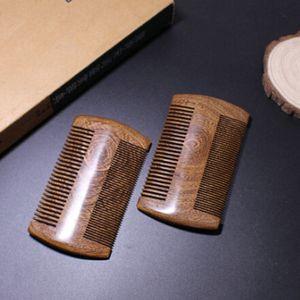 Nueva moda verde sándalo de bolsillo de bolsillo de bolsillo peines 2 tamaños hechos a mano de madera natural de madera 1pc peine de madera