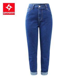 2233 Youaxon 100% algodón de cintura alta Boyfriend Jeans `s azul denso Pantalones vaqueros mamá Jean Hembra de mujeres Jeans