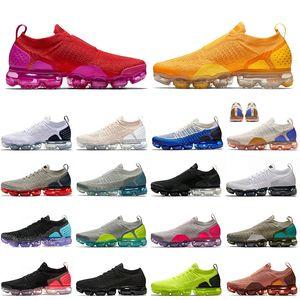 nike air vapormax vapor max flyknit qualité des femmes des hommes volent chaussures de course or universitaire voile rouge triple chaussures de sport formateurs de particules