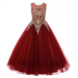 2020 Formal Little Girls Long Pageant Dresses Prom Ball Gown Gold Lace Burgundy Tulle Princess Birthday Party Dress
