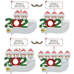 Quarantine Christmas Ornament 2020 Xmas Tree Hanging Pendant DIY Name Blessing Pendant Snowmen Family Christmas Ornament Sea Shipping IIA675