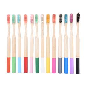13 couleurs de brosse à dents de bambou naturel brosse à dents Bamboo poils doux de bambou Naturel Eco Bamboo Fibre de bambou Poignée à dents jetables