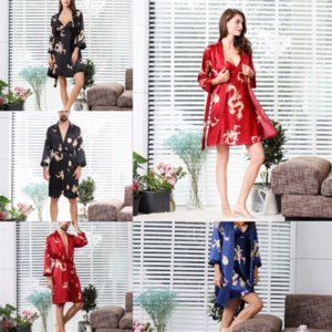 C5B Seda Sexy Lovers Bathrobe Nightgown Dibujos animados Cat Silk Flower Pijamas Mujeres Summer Suspenders Home Girl Shorts Shorts Wear Furset