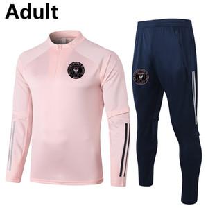 2020 Inter Miami CF hombres del fútbol chándal Conjuntos de adultos para correr fútbol de la chaqueta de los pantalones Juegos Deportes corrientes Survetement traje de entrenamiento de fútbol de invierno