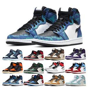 Hot mens basketball shoes 1s high jumpman 1 Obsidian Bred Toe Panda Shattered Backboard Lucky Green Tie Dye men womens sport sneaker trainer