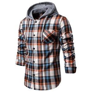 Autunno Casual Plaid Camicie maniche lunghe Pullover Camicia CYSINCOS 2020 Hoodies Tuta da uomo con cappuccio Top Camicetta Abbigliamento sportivo per gli uomini