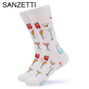 SANZETTI 1 Pair 2020 New Colorful Bright Women Socks Novelty Cute Combed Cotton Funny Party Wine Gifts Wedding Dress Happy Socks