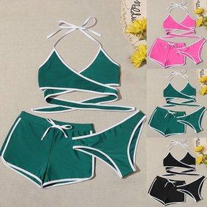 Summer Women's Three-piece Set Fashion Swimwear Beachwear Bikini Cross straps boxer briefs swimsuit set bikini 2020 push up 68 1004