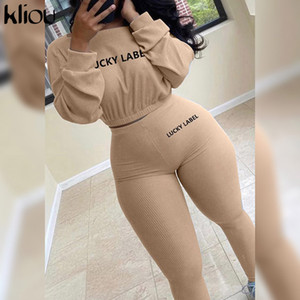 Kliou Autumn Solid Letter Embroidery Two Piece Sets Women Basic Sweatshirt+Leggings Casual Sporty Tracksuits Female Hot Corduroy 201015