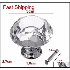 5 stücke / satz 30mm Diamant Kristall Schrankschrank Kommode Schublade Kleiderschrank Türknopf PUL QYLYQP NEUER_DHBEST