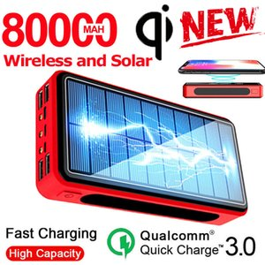 80000mAh Solar Powerbank Wireless Power Bank 4 USB Portable External Battery Charger Pack For Xiaomi Samsung IPhone PoverBank