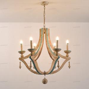 Massivholz Kronleuchter nordic türkis Beleuchtung loft Dekor Wohnzimmer Foyer Kronleuchter Lobby Bohemien european Leuchten