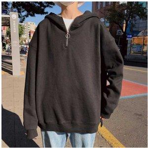 Hommes Automne Spring Sprodoes Soild Couleur À Manches Longues Mode Capuchon Casual Simple Coréen Style Simple Zipper Lâche Pullover