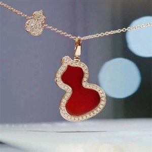 Red Agate Gourd Colliers Pendentif en or rose haut de gamme Collier Femme Bijoux Fashion Marque Femmes Accessoires de mariage