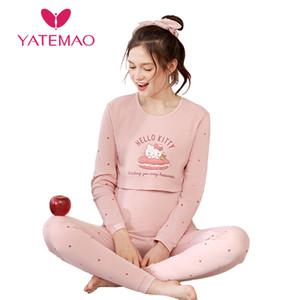 Yatemao Inverno Pigiama Pigiama Set Sorrise Abbigliamento Sleepwear Donne Pregancy Vestiti MAnnity Lounge Manica Lunga Cotone LJ201120