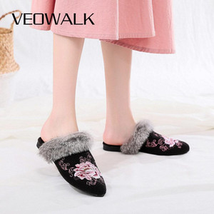 Veowalk Winter Women Warm Faux Fur Slippers Soft Comfortable Pointed Toe Flat Mules Ladies Indoor Home Embroidered Shoes