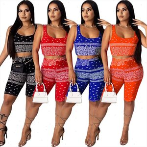 women summer bandana print mini tank tops shorts jogger pants suit sport two piece set matching set outfits