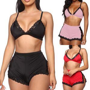 Sexy Women Lace Deep V-neck Lingerie Lace Bra Crop Tops High Waist Split Shorts Set Women Bobydoll Nightwear Sleepwear Underwear
