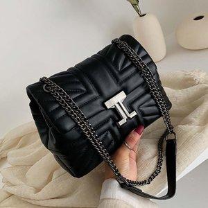 Sacos Sênior das Mulheres 2021 Primavera New Trendy Texture Lingge Chain Bag Moda Um ombro Personalidade Mensageiro Bag