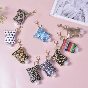 PU Leather Hand Sanitizer Bottle Holder Keychain Bag With 30ML Hand Soap Bottles Holder Leopard Key Ring Pendant Party Favor Free DHL LQQ176