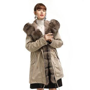 Maylofuer natural real fox fur coat Real Silver Fox Collar Cuff Hooded Coat Parka Long winter jacket rex rabbit fur liner 201023