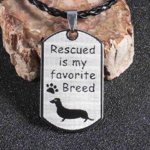 Paslanmaz Çelik Dachshund Kolye Pet Köpek Anıtı Doxie Sosis Wiener Kurtarma Köpek Etiketi Mens Jewelry1
