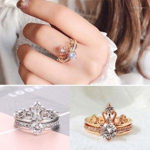 Fedi nuziali Modo zircone anello corona per le donne Decifrabile Doppio set di gioielli di fidanzamento Regalo 1
