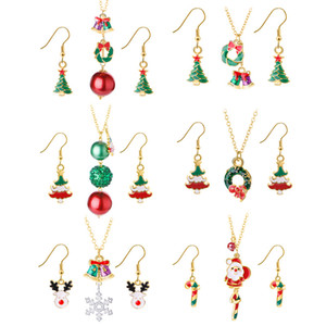 Wholesale 2020 Creative jewelry versatile Christmas series oil bell Snowman Santa Necklace Earring Set free shipping