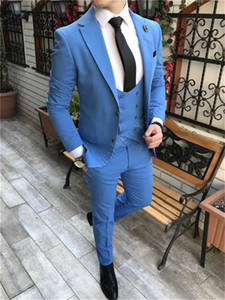 Hot Selling Groomsmen Blue Groom Tuxedos Notch Lapel Men Suits Wedding Prom Dinner Best Man Blazer ( Jacket+Pants+Tie+Vest ) G178