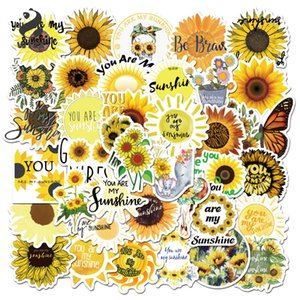 50pcs lot You Are My Sunshine Sun Flower Stickers Plant For Laptop Skateboard PVC Backpack Bicycle Car Decals Graffiti Sticker