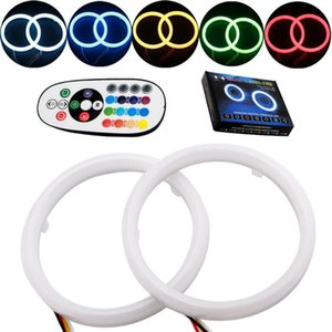 Car Angel Eyes 2PCS Set Auto Halo Rings Angel Eye 12V Headlight 2835 SMD Motorcycle 80MM 95MM RGB 16Modes With Remote Controller
