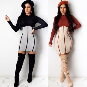 Лоскутное Тонкий женщин конструктора платья Bodycon Контраст цвета с длинным рукавом платья женщин вскользь сексуальная весна лето одежда
