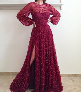 2018 Luxury Evening Dresses Dubai Beaded Lace with Puffy Long Sleeves Side Split Bling Rhinestones Pearls Bow Belt Plus Size Prom Gowns