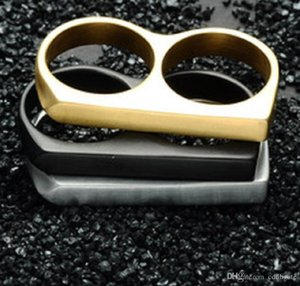 Stainless Steel Finger Buckle Double-Finger Brass Steel Ring Hip-Hop Glossy Knuckles Ring Gold Ring Escape Gadget