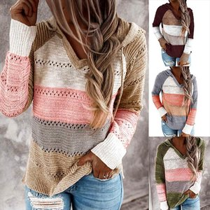 Original Popular Cross Border Womens 2020 Autumn and Winter Contrasting Color Stitching Hooded Long Sleeve Knitwear Women