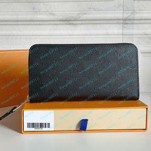 Männer Geldbörse Brieftasche Reißverschluss Tasche Frauen Brieftaschen Leder Präge Kartenhalter Tasche Lange Frauen Tasche Münze Geldbörsen mit Kiste 60017