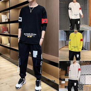 Long-sleeved T-shirt pants suit boys' trousers sports suit autumn printed two-piece for teenagers loose