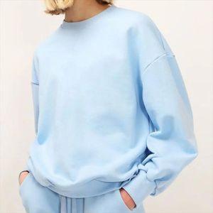Oversize women elegant soft cotton sweatshirts 2020 fashion ladies vintage blue sweatshirt casual female loose top girls chic