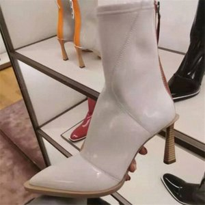 Sexy Pointed Toe Boots Women Patent Leather Botas Mujer New High Heels Shoes Woman Pumps Chaussures Femme Ankle Botines yUwy#