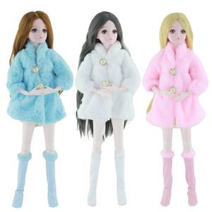 Длинные рукава Мягкие Шуба Tops платье зима теплая спортивная одежда Аксессуары Одежда Сапоги Наборы для 60см Кукла Барби Детские игрушки