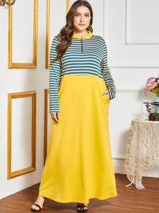 Autumn Winter Dress Plus Size Women Long Sleeve Striped Print Patchwork Elegant Dress Loose Maxi Arab Muslim Dress