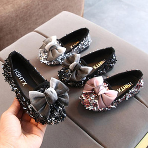 Kids Shoes Bowknot Rhinestone Leather Shoes School Girls Dress Sneakers Spring Wedding Party Dress For Girls Sandals