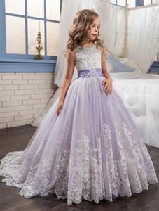 Schöne lila und weiße Blumen-Mädchen-Kleider wulstige Spitze Appliqued Bogen-Festzug-Kleider für Kinder Hochzeit Kleider für Mädchen