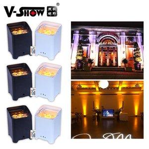 Azioni USA 6pcs con flightcase Batteria bianca wireless DMX WiFi Remote LED Matrimonio Uplighting 6x18w RGBWauv 6in1 LED Uplighting Par Led DJ