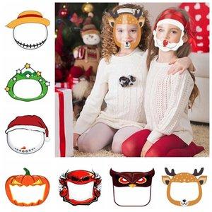 Niños Face Shield Halloween Máscara transparente Clear PET reutilizable Anti Splash Navidad Año Nuevo Dibujos animados Máscara protectora DDA625-2