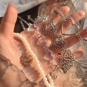 Collana girocollo catena del cuore per le donne Collare vintage Goth croce pendente collane estetica gioielli di halloween valentines party girl 370 G2