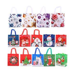 Christmas Gift Bag Xmas Santa Snowman Deer Non-woven Takeaway Packaging Bag Disposable Food Gift Package Bag AHA1108