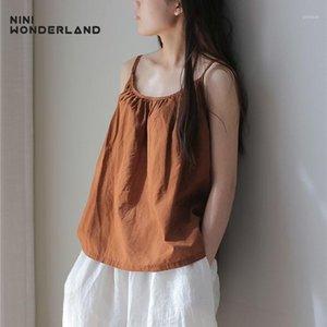 Nini Wonderland Damen Tanktops Sommer Casual Baumwolle Camis Für Weibliche Ärmellose Mori Mädchen Stil Tops 2020 Kurzer Vintage Wege1
